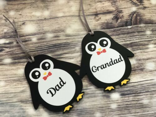 Penguin Personalised Christmas Decoration Baby First Christmas Bauble