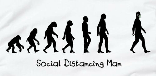 Details about  /Social Distancing Man Evolution Of Man T Shirt White