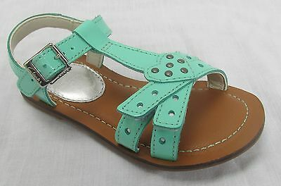 BNIB Clarks Girls Loni Lola Mint Green Patent Leather Sandals F Fitting