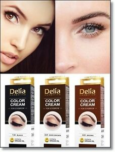 Details zu Delia Henna Color Professional Cream Eyebrow Tint Kit Dye Black  Brown Dark Brown