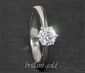 Diamant-Brillant-585-Gold-Damen-Ring-1-03ct-Si2-14-Karat-Weissgold-Solitaerring