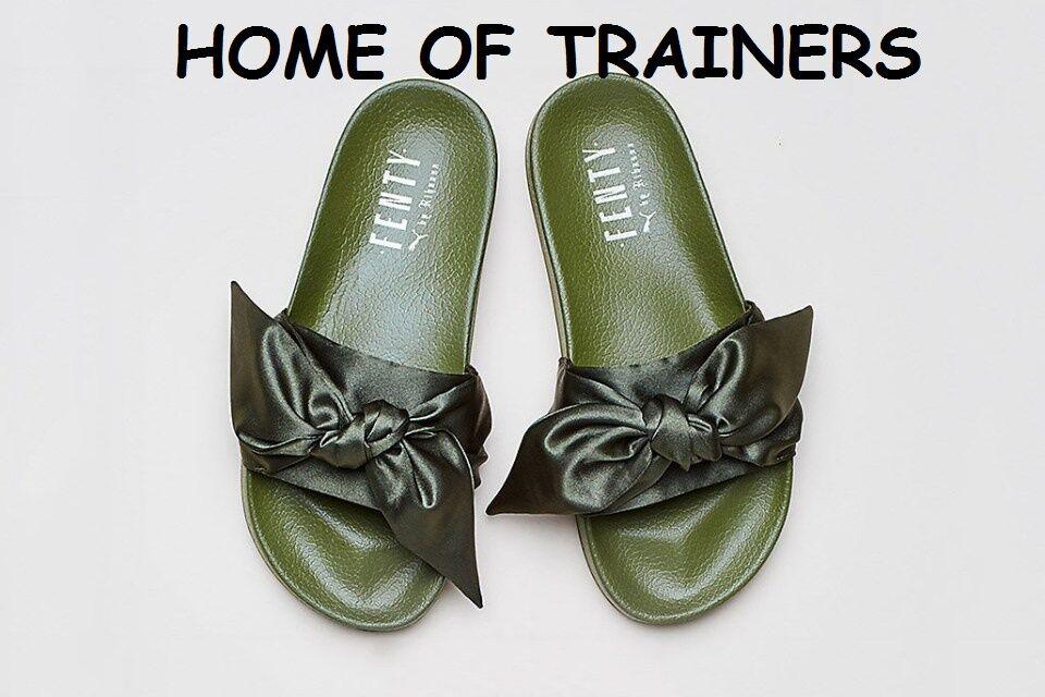 Puma rihanna fenty diapositive bow  olive  femmes diapositive uk 3 4 5 6 7 8