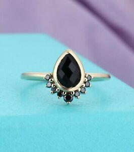 0.4ct Round Cut Blue Sapphire Engagement Ring Minimalist 14k Yellow Gold Finish