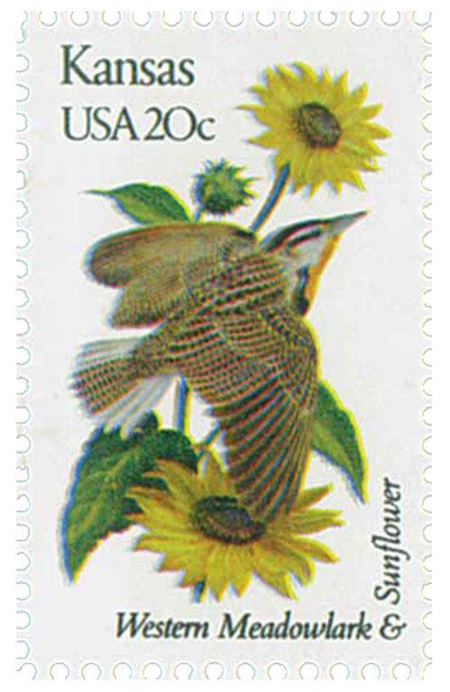 1982 20c State Birds & Flowers, Kansas, Western Meadowl