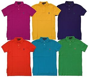 d8368ebe Details about Ralph Lauren Mens Custom Fit Mesh Pony Logo Polo Shirt  Yellow/Pink/Purple New