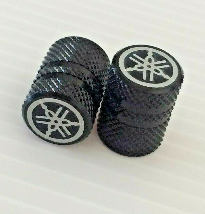 YAMAHA GENUINE WHEEL VALVE DUST CAP SET OF TWO KNURLED BLUE