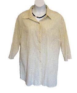 Metallic Beige Blouse SIZE XL 18 20 Susan Graver Crinkle Shirt Top Floral Long