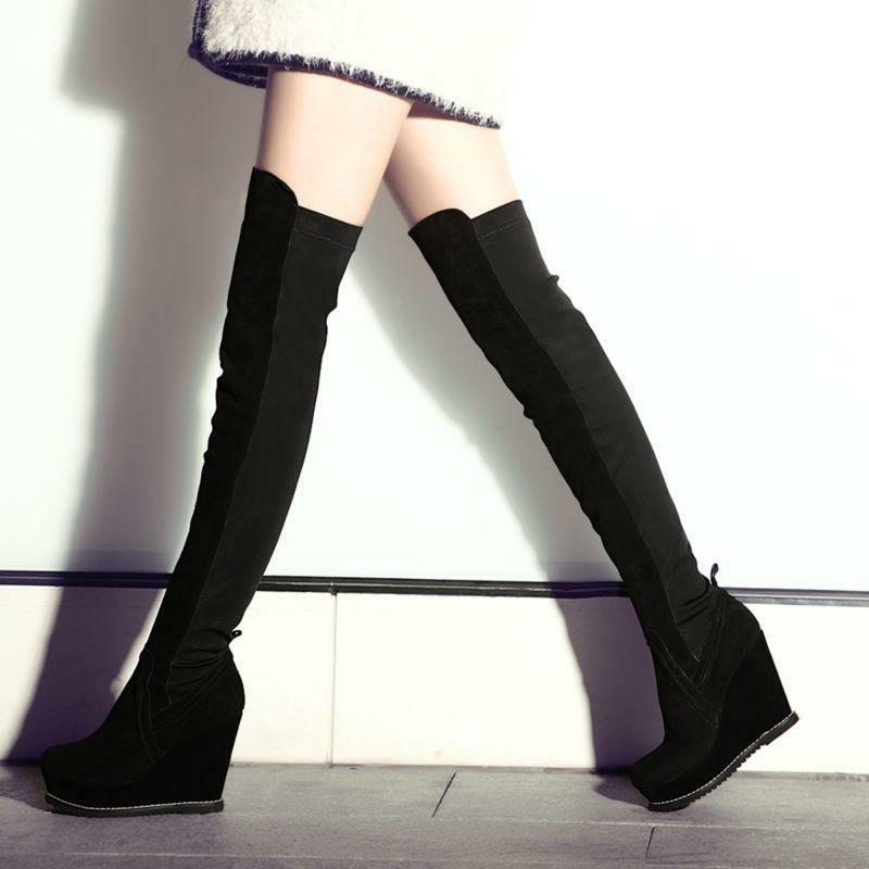 Womens Black Knight Platform Suede Wedges Heel Over the Knee Boots Long shoes