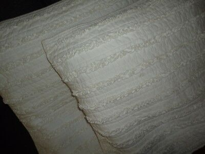 NOSTALGIA COTTAGE OFF-WHITE RUFFLED (PAIR) EURO PILLOW SHAMS 26 X 26