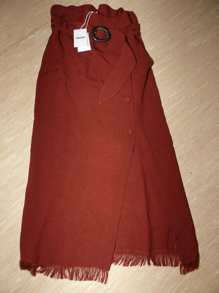 4 Nouveaux Nanushka Disa Tech Femmes Linge Maxi Jupe T S Brun Rouge Avec Ceinture Neuf