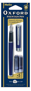 Helix-219915-Oxford-Fountain-Pen-and-Cartridges-Blue-Ink