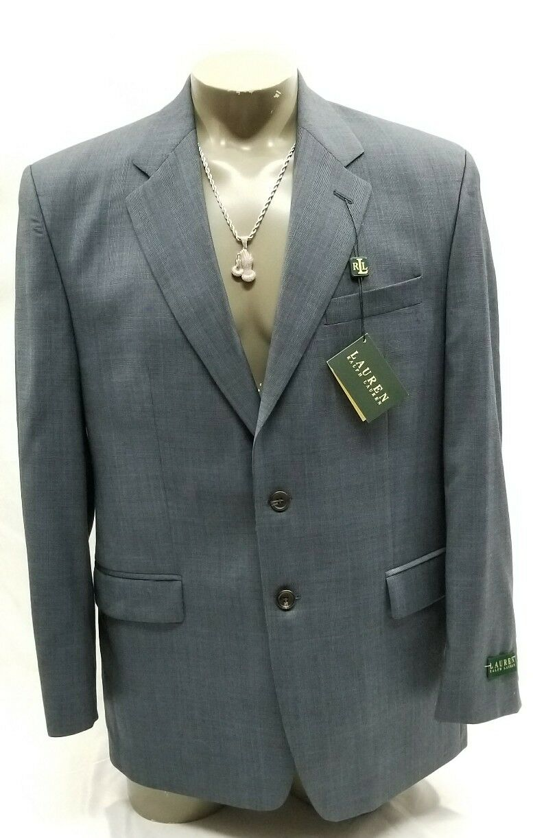 NWT Ralph Lauren Windowpane Blau Wool Suit 42R x 36W RT 495.00