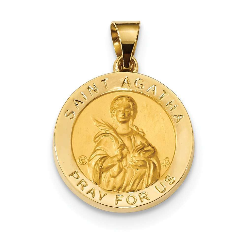 14K Yellow gold Polished & Satin St. Agatha Hollow Medal Pendant
