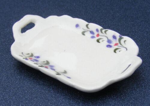 SCALA 1:12 vassoio in ceramica color crema con un motivo Viola tumdee casa delle bambole Crp1