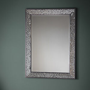 Details About Bronte Large Silver Mosaic All Gl Frame Rectangle Art Deco Wall Mirror 43x31