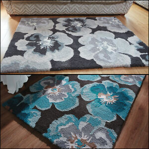 Modern-Floral-Design-Soft-Thick-Quality-Shaggy-Rug-in-Various-sizes-and-Colours