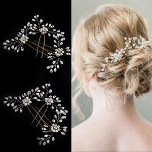 3Pcs Wedding Bridal Pearl Flower Crystal Hair Pins Bridesmaid Fashion Clips Comb