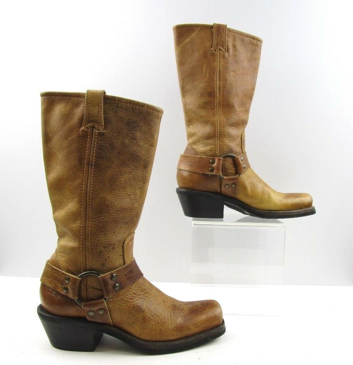 Ladies BCBGirls Brown Leather Leather Leather Square Toe Stirrup Cowboy Boots Size  6.5 B 1861e6