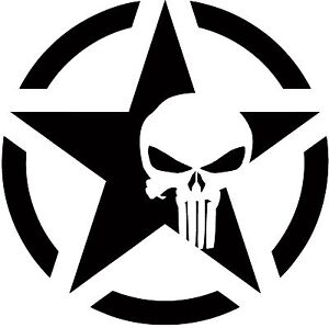Image is loading Army-Star-Punisher-Skull-Jeep-Military-Decal-2-