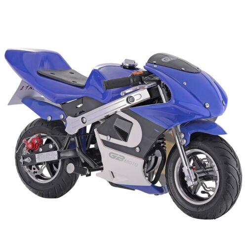 New GBmoto Gas Pocket Bike 40cc 4 Stroke Blue Kids Ride Mini Motorcycle