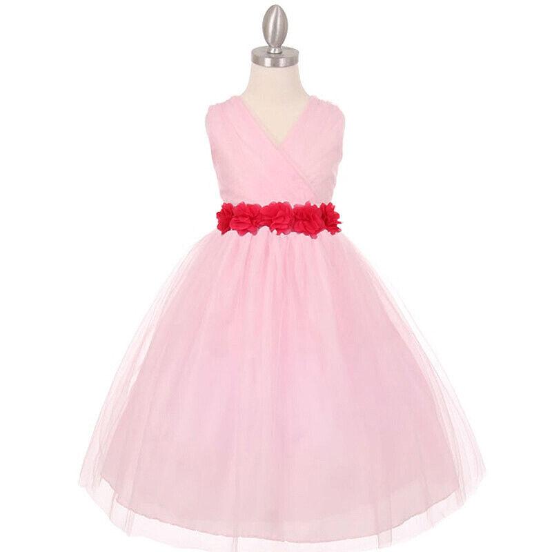 PINK FUCHSIA Crystal Tulle Flower Girl Dress Birthday Wedding Bridesmaid Size 8