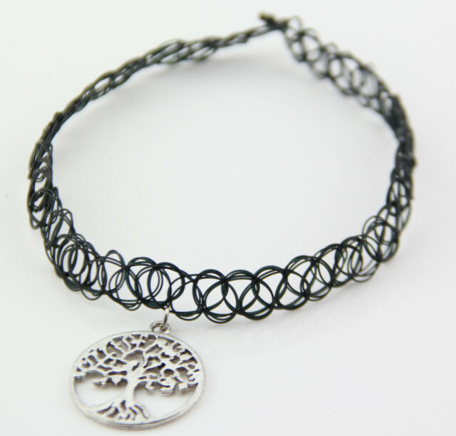80s 90s Vintage Stretch Tree of Life Tattoo Choker Necklace Gothic Punk Elastic