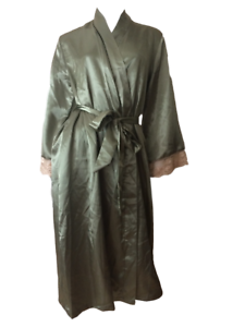 Olive Green Lace Cuff Calf Length Satin Dressing Gown Robe S//M L//XL
