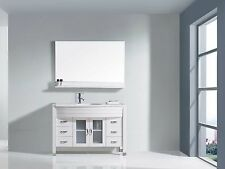 "Ava 48"" Single Bathroom Vanity Cabinet WHITE/Stone Top/Chrome Faucet/Mirror"