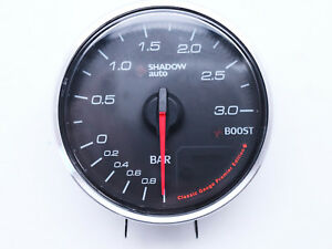 Boost-Gauge-Shadow-Gauge-60mm-Turbo-Meter-3-BAR-White-LED-Electrical-Classic