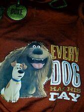 "THE SECRET LIFE OF PETS DUKE BOY DOG HOODIE TEE ""EVERY DOG HAS HIS DAY""SZ L"