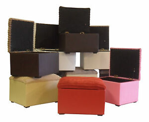 Small-Storage-Box-Pouffe-Footstool-Jumbo-Cord-Lid-amp-Faux-Leather-Base