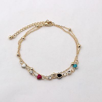 Fashion Two Layers Anklet Bracelet 14K Yellow Gold Plated Heart Ball Anklets