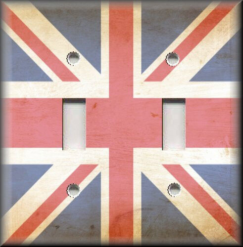 Metal Light Switch Plate Cover Aged British Flag Travel London England Decor