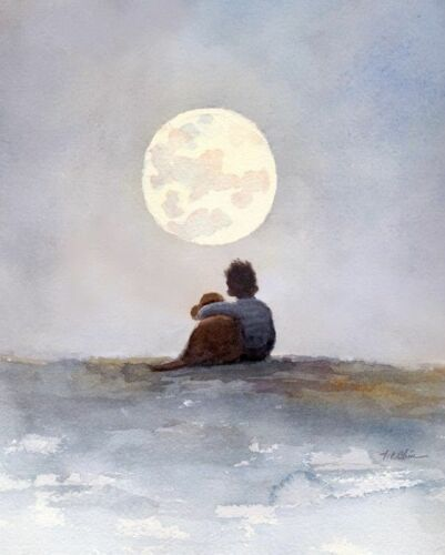 A Boy signed watercolor painting giclee print his Dog and a full Moon