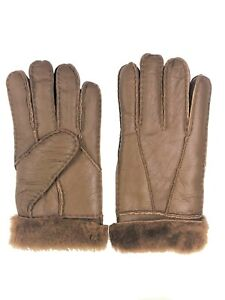 Women-039-s-Genuine-Sheepskin-Dark-Brown-Warm-Leather-Shearling-Fur-Gloves