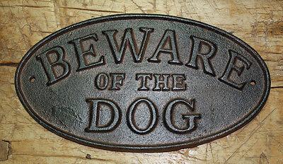 """CAST IRON /""""BEWARE OF DOG/"""" DOOR SIGN PLAQUE"""