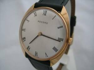 NOS-NEW-VINTAGE-SWISS-GOLD-PL-MECHANICAL-HAND-WINDING-RECORD-MEN-039-S-WATCH-1960-039-S