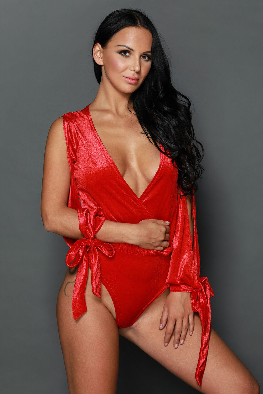 Körper red aus samt lange ärmel geöffnet binden an die handgelenk original sexy