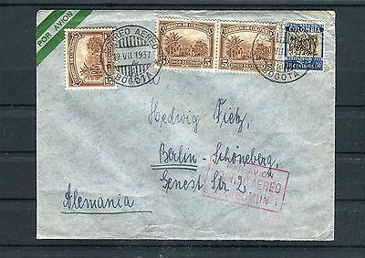 Clever Luftpostbrief Kolumbien Tolle Mischfrankatur Von Bogota Nach Berlin Briefmarken Süd- & Mittelamerika B1638 Hell In Farbe