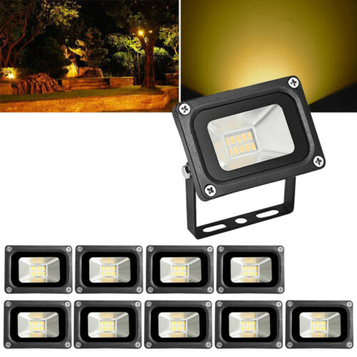 10X 10W LED Security Floodlights Outdoor Garden Yard Lamp Landscape Warm IP65