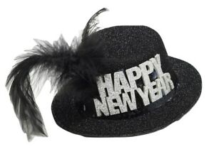 New-Years-Mini-Glitter-Black-Hat-Holiday-Party-One-Size-Headgear-Accessories