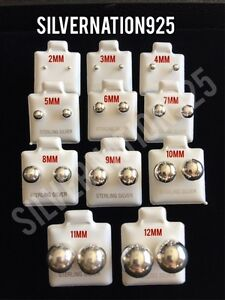 New-925-Sterling-Silver-2mm-10mm-Ball-Studs-Earrings