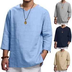 Men-039-s-Fashion-Summer-Baggy-Soid-Cotton-Hemp-Top-Short-Sleeve-Blouse-Top-T-Shirts