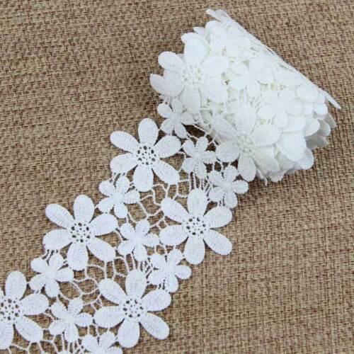 environ 1.83 m 2 Yd coton coudre robe de mariée brodé fleur Blanc Bilatéral de Bordures en Dentelle