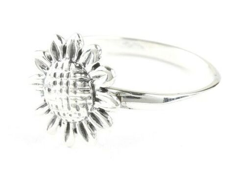 Sunflower Ring Boho Gypsy 925 Festival Jewelry Sterling Silver Flower Ring