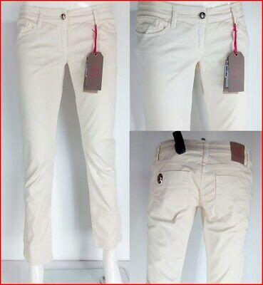 Dedito Jeans Donna Bianco Avena Alla Caviglia Betty Blue Made In Italy Taglia W28
