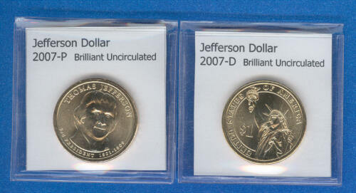 2007-P and 2007-D Thomas Jefferson Dollars from Mint Rolls