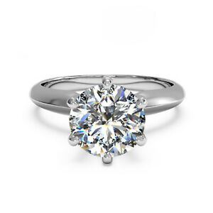 2.00 Ct Round Real Moissanite Anniversary Ring 18K Solid White Gold ring Size 6