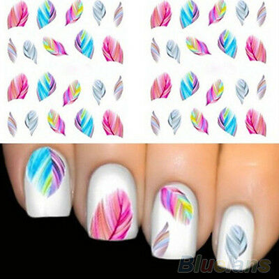 5 SHEETS USEFUL FEATHER NAIL ART WATER TRANSFER STICKERS RAINBOW DREAM DECALS