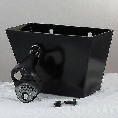 Starr Standard Black Combo Wall Mount Bottle Opener and Black Metal Cap Catcher
